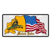 Don't Tread on Me & US Flag Auto License Plate