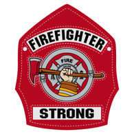 Leather Helmet Front Firefighter Strong Decal