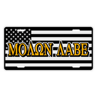 Black American Flag with Molan Labe Auto License Plate