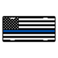Black American Flag with Blueline Auto License Plate
