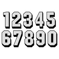 White Reflective on Black Shadow Letters & Numbers