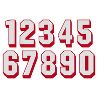 White on Red Reflective Shadow Letters & Numbers