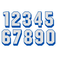 White on Bright Blue Reflective Shadow Letters & Numbers