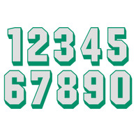 White on Green Reflective Shadow Letters & Numbers