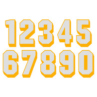 White on Yellow Reflective Shadow Letters & Numbers
