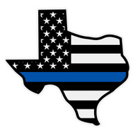 Black American Flag with Blue Line Texas Decal