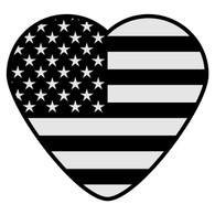 Black American Flag Heart Decal