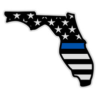 Black American Flag with Blue Line on Florida Outline Decal