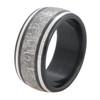 Men's Black Zirconium Meteorite Ring with Twin Platinum Accents
