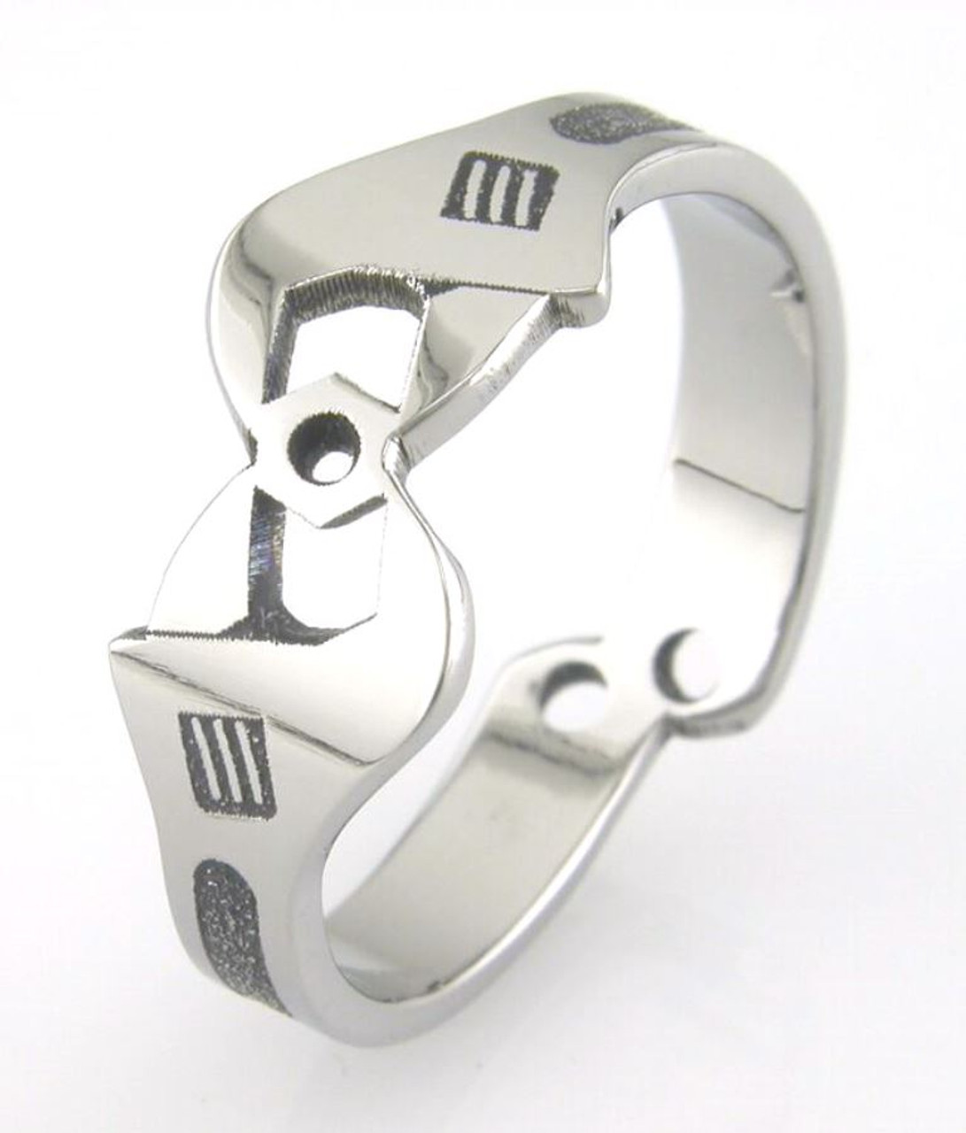 Mens Titanium Wrench Wedding Ring