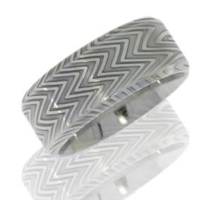 Men's Aggressive Beveled Edge Damascus Steel Ring
