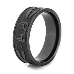 Men's Blacked Out Antler and Tracks Ring