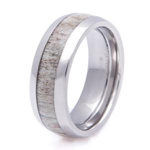 Men's Titanium Deer Antler Wedding Ring
