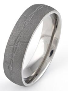 Men's Barbwire Titanium Sandblasted Ring