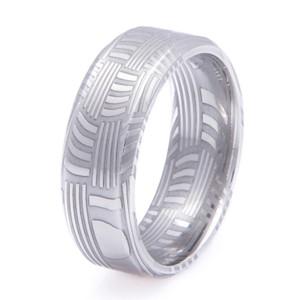 Men's Basket Weave Damascus Steel Ring