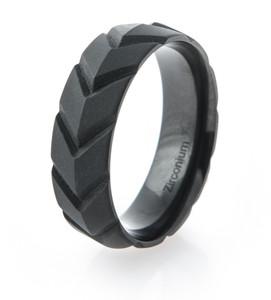 Men's Matte Black V-Force Ring