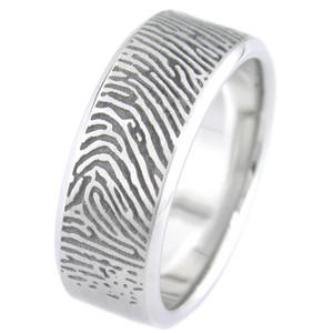 Beveled Edge Fingerprint Ring