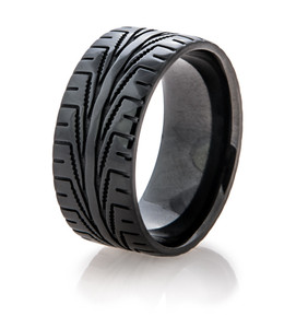 Men's Black Goodyear Assurance Tire Tread Ring
