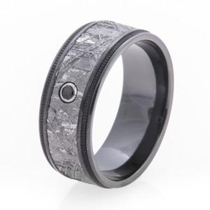 Men's Black Zirconium Diamond Gibeon Meteorite Ring