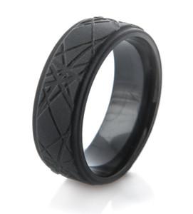 Retro Laser Style Men's Black Ring