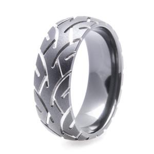 Men's Black Tire Tread Ring