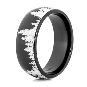 Black Tree Line Ring