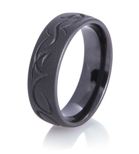 Tribal Matte Black Wedding Ring