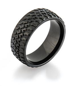 Men's Black Truck Tire Tread Ring