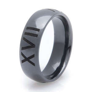 Men's Polished Black Zirconium Roman Numeral Ring