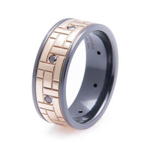 Men's Black Zirconium & Gold Black Diamond Ring