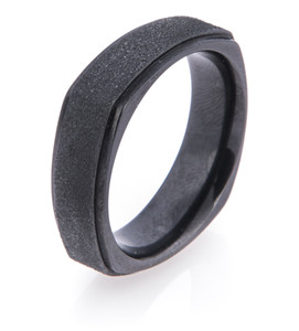 Men's Square Black Zirconium Ring with Stipple Finish