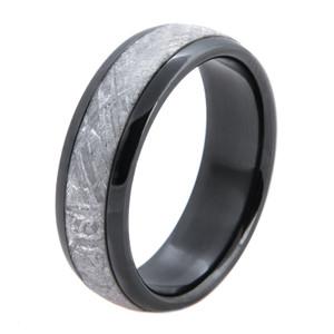 Men's Polished Black Zirconium Gibeon Meteorite Ring