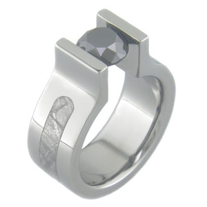 Men's Titanium Tension Set Black Diamond Gibeon Meteorite Ring