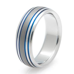 Titanium Sable Finish with Blue Wedding Band