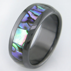 Abalone Inlay Black Zirconium Ring