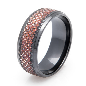 Black Zirconium Copper Ring with Diamond Grate Finish