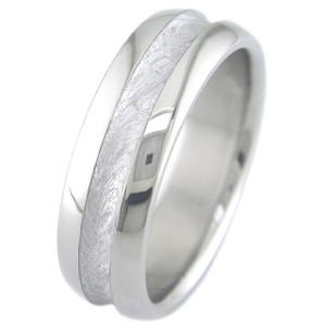 Men's Concave Titanium Gibeon Meteorite Ring