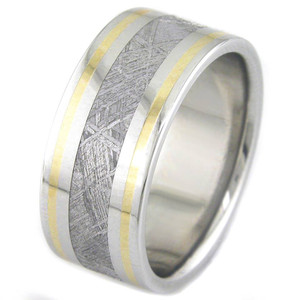 Men's Wide Titanium Meteorite Ring with Twin 18K Gold Accents