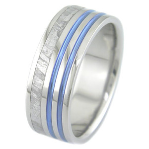 Meteorite Ring with Blue Stripes