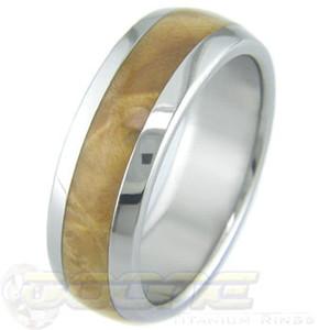 Men's Dome Profile Titanium and Box Elder Burl Ring