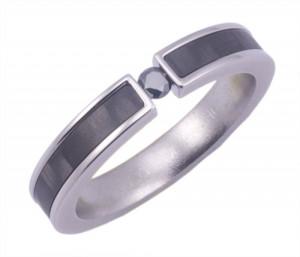 Carbon Fiber and Black Diamond Ring
