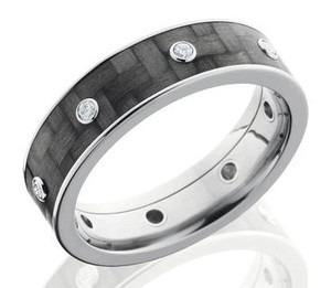 Titanium and Carbon Fiber Diamond Ring