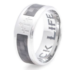 Men's Titanium and Carbon Fiber Three Crosses Ring