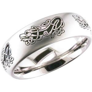 Laser Engraved Celtic Dragon Ring
