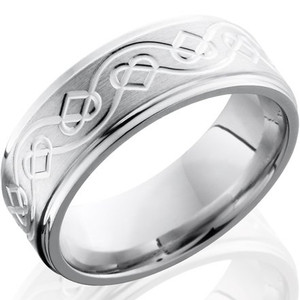 Men's Grooved Edge Celtic Heart Cobalt Wedding Band