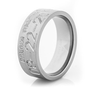 Men's Titanium Banded Together Duck Band Wedding Ring