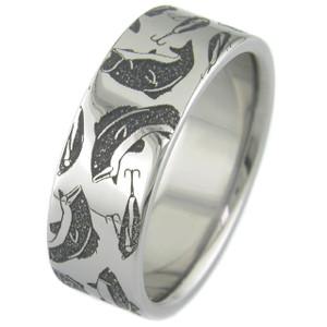 Men's Laser-Carved Titanium Bass Fishing Ring