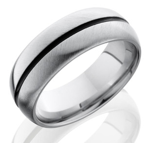 Men's Cobalt Chrome Ring with Black Center Groove
