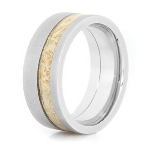 Men's Flat Profile Gunmetal Cobalt and Box Elder Wood Wedding Band
