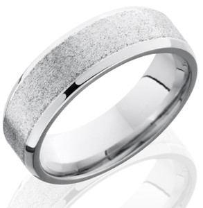 Men's Beveled Edge Stone Finish Cobalt Band